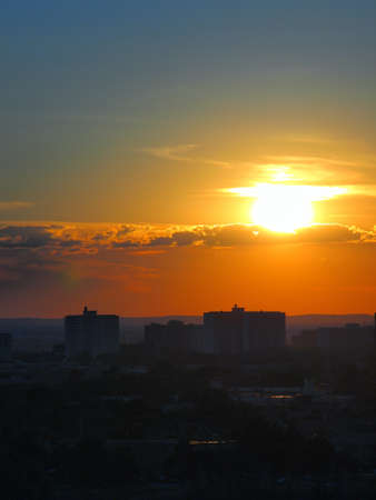 Scene of sun set over the city