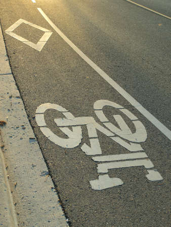 Bike lane on a road photo