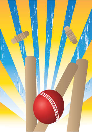 wicket: cricket ball with wickets and ray background