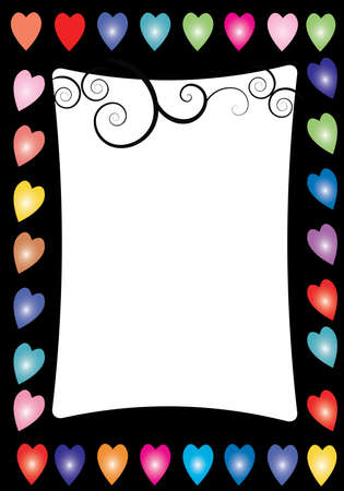 a black border with multi colored hearts and swirls Stock Vector - 7099506