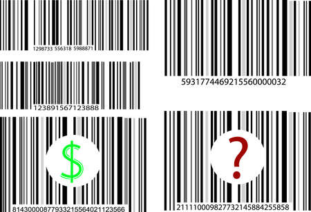 five different barcodes on white background Stock Vector - 7125231