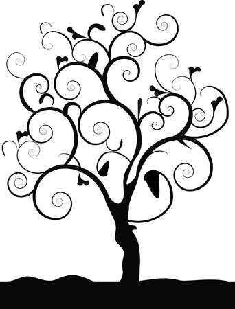 a black tree on a white background Vector