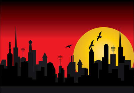 a silhouette of a city  with red background Stock Vector - 7216571