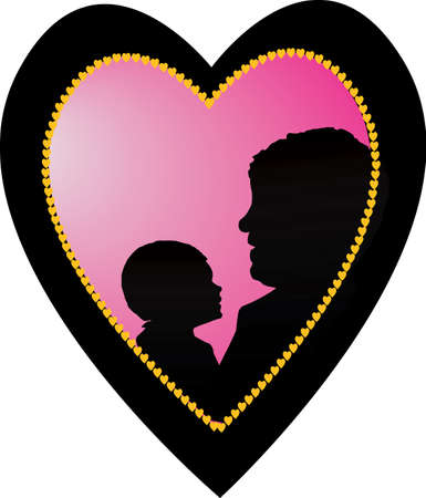 a loving parent with a child on white background Vector