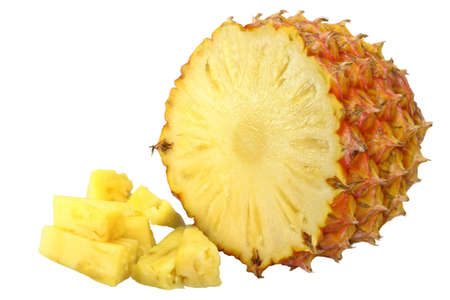 pineapple and pineapple pieces on white background Stock Photo - 7470506