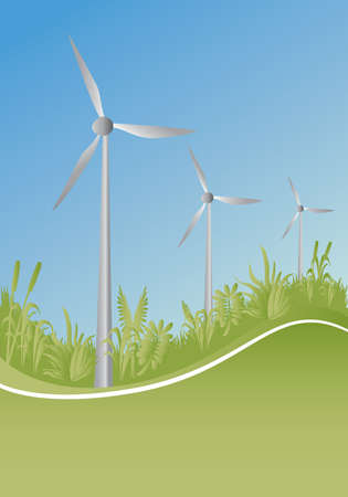 windpower: wind generator and plants with blue background Illustration