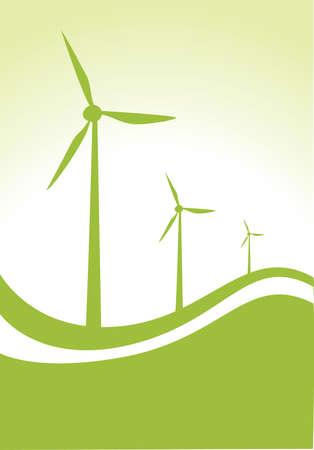 windmolen: drie windgenerator op groene en witte achtergrond