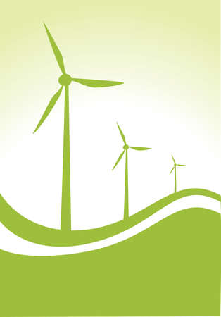 production of energy: three wind generator on green and white background