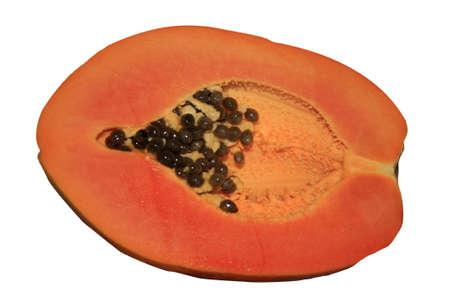 papaw: a fresh orange papaw cut in half