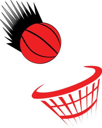basketball net: baloncesto siendo arrojado neto sobre fondo blanco  Vectores