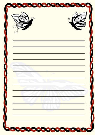 correspond: notepad with butterflies and a red and black border