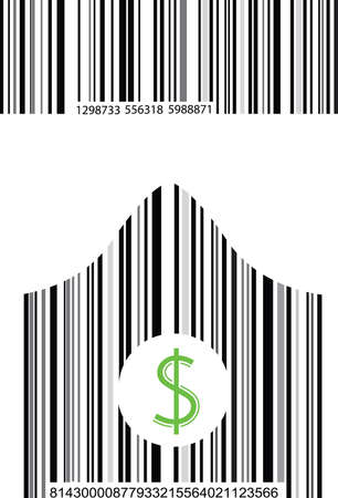 a set of two barcode one curved on white background Vector