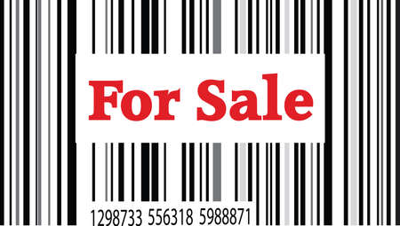 satılık: one barcode for sale on white background Çizim