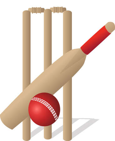 throwing ball: a cricket ball and bat and wickets Illustration