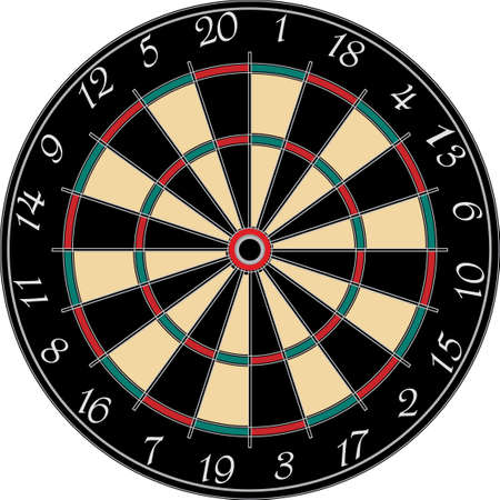 dart board: a dart board on a white background  Illustration