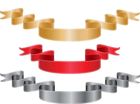 a set of three silver red and gold ribbons Vector