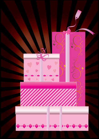 a set of pink gift boxes with ray background Vector