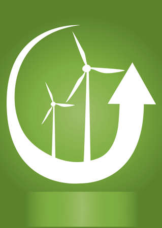 windfarm: wind generator with white arrow and green background Illustration