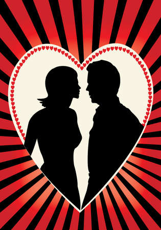 couple in a heart with red rays Vector