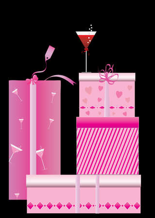 shopping champagne: gift box on black background and wine glass