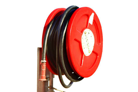 emergency red fire hose on a white background
