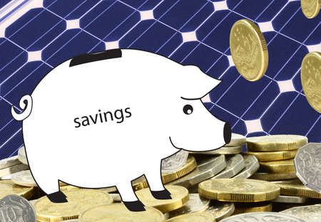 solar panel  with a pile of coins and a piggy bank Stock Photo - 7637510
