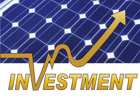 save electricity: solar panel in the background with investment in the front