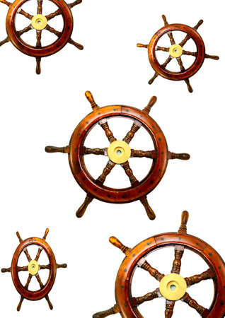 piloting: lots of wooden boat wheel on white background Stock Photo