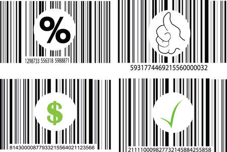 a set of four barcodes on white background Stock Vector - 7637515