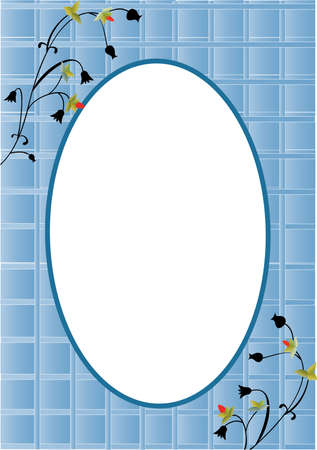 Romantic card with blue squares and oval center Vector