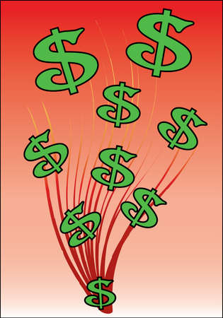 green dollar signs on red background with swirls Vector