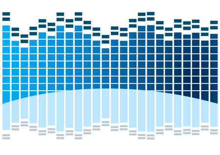 sound  waves in blue with reflection Vector