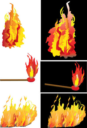 alight: samples of fire and a match stick alight
