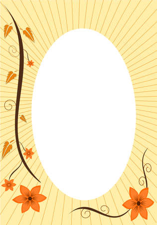 a pretty floral autumn sceen with white center Vector
