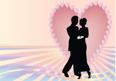 dates fruit: pareja de coraz�n con rayos de rosados y azules Vectores