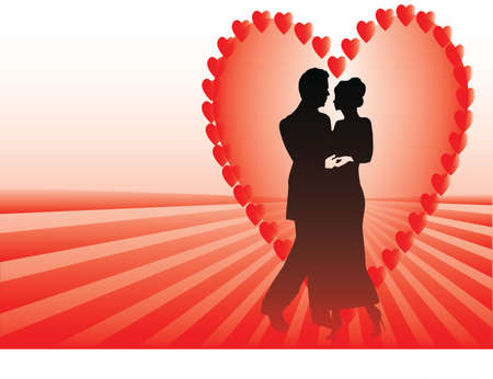 couple in a heart with rays Vector