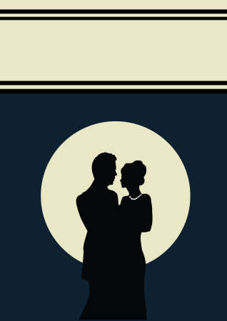 love image: a young couple with a  blue background Illustration