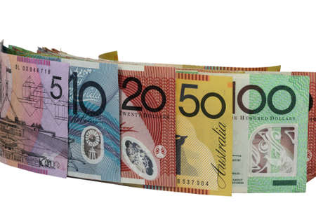 whote: a few dollar notes on a whote background Stock Photo