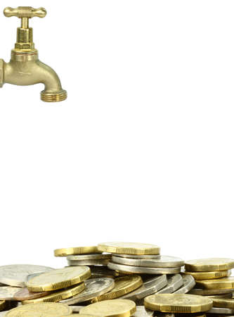 a brass tap with a pil of coins on white background photo