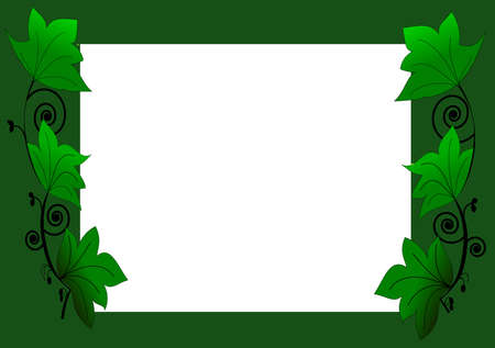 a vector of green leaves and border Stock Vector - 7679052