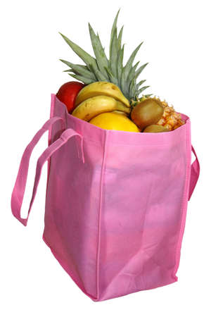 shopping basket with tropica fruit on a white background Stock Photo - 7678993