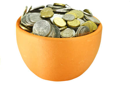 bucket of money: a single pots of coins on a white background