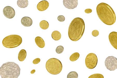 lloviendo: gran cantidad de monedas cayendo sobre un fondo blanco