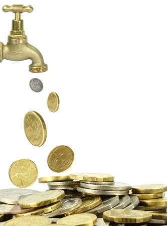Cash Flow: a tap pouring out coins on white background