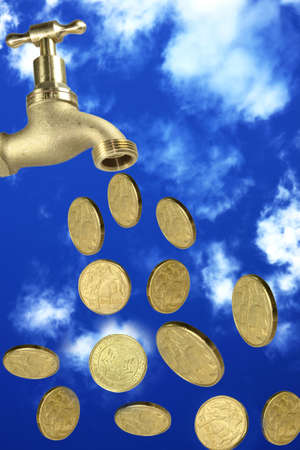 tap with coins falling and a dark blue sky as a background photo