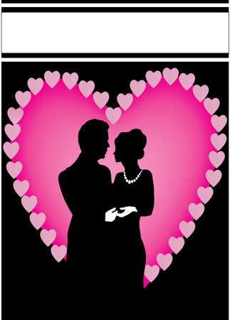 pink heart couple with a black background Vector