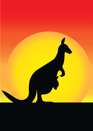 joey: Kanagroo And its Joey In The Sunset Illustration