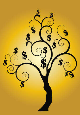 grow money: a black money tree on a gold background Illustration