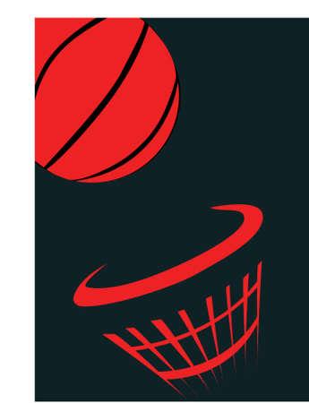 cerchione: una palla arancione paniere e netto su sfondo nero