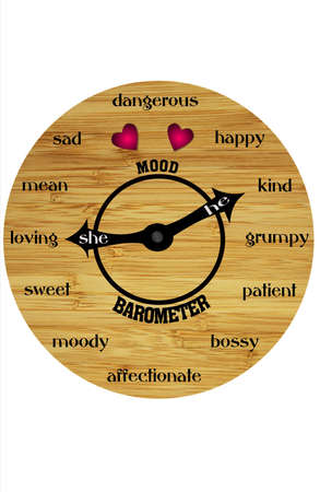 dispositions: A view of a round, wooden clock-like face with hands pointing to a variety of human emotional moods.  White background Stock Photo
